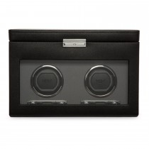 WOLF Viceroy Men's Double Watch Winder 4 Timepiece Storage Faux Leather Glass Door