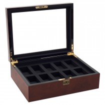 Men's Glass Top, 10 Compartment Wooden Watch Box w/ Key Lock 2 Colors