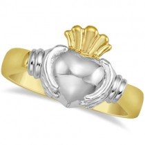 Claddagh Ring Traditional Irish Celtic Wedding Ring 14K Two Tone Gold
