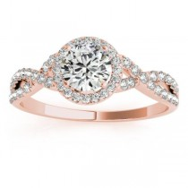 Twisted Infinity Halo Diamond Engagement Ring 18k Rose Gold (0.20ct)