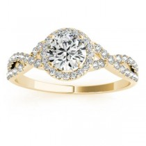 Twisted Infinity Halo Diamond Engagement Ring 18k Yellow Gold (0.20ct)