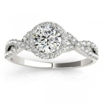Twisted Infinity Halo Diamond Engagement Ring Platinum (0.20ct)