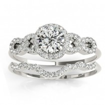 Diamond Halo Twisted Engagement Ring & Band Set 14k White Gold 0.35ct