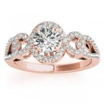 Twisted Shank Halo Diamond Engagement Ring Setting 14k R. Gold 0.35ct