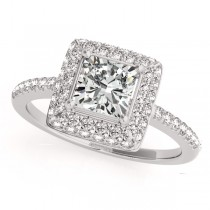 Cushion Cut Diamond Halo Engagement Ring 18k White Gold (2.00ct)