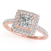 Princess Cut Diamond Halo Engagement Ring 18k Rose Gold (2.00ct)
