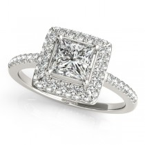 Princess Cut Diamond Halo Engagement Ring Palladium (2.00ct)