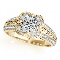 Micro-pave' Flower Halo Diamond Engagement Ring 14k Yellow Gold 2.00ct