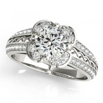 Micro-pave' Flower Halo Diamond Engagement Ring 18k White Gold 2.00ct