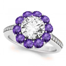 Floral Design Round Halo Amethyst Engagement Ring 18k White Gold (2.50ct)