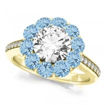 Floral Design Round Halo Aquamarine Engagement Ring 18k Yellow Gold (2.50ct)