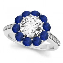 Floral Diamond & Blue Sapphire Halo Engagement Ring 18k White Gold (2.50ct)