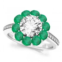 Floral Design Round Halo Emerald Engagement Ring 18k White Gold (2.50ct)