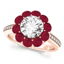 Floral Design Round Halo Ruby Engagement Ring 14k Rose Gold (2.50ct)