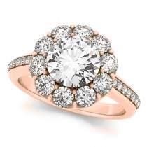 Floral Design Round Halo Engagement Ring 14k Rose Gold (2.50ct)
