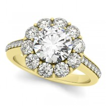 Floral Design Round Halo Engagement Ring 18k Yellow Gold (2.50ct)