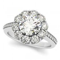 Floral Design Round Halo Engagement Ring Palladium (2.50ct)