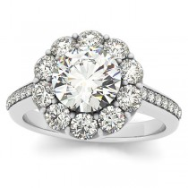 Diamond Floral Halo Engagement Ring Setting 14k White Gold (1.00ct)