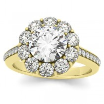 Diamond Floral Halo Engagement Ring Setting 14k Yellow Gold (1.00ct)