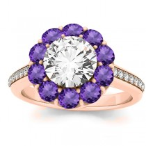 Diamond & Amethyst Floral Halo Engagement Ring Setting 14k Rose Gold (1.00ct)