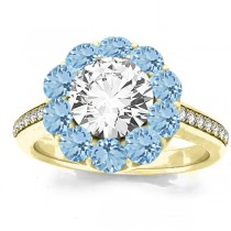 Diamond & Aquamarine Floral Halo Engagement Ring Setting 18k Yellow Gold (1.00ct)