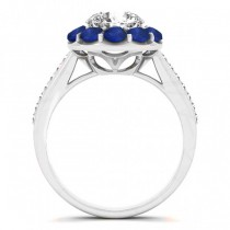 Diamond & Blue Sapphire Floral Engagement Ring Setting 14k White Gold (1.00ct)