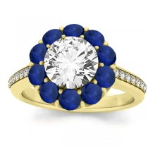 Diamond & Blue Sapphire Floral Engagement Ring Setting 14k Yellow Gold (1.00ct)