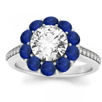 Diamond & Blue Sapphire Floral Engagement Ring Setting 18k White Gold (1.00ct)