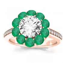 Diamond & Emerald Floral Halo Engagement Ring Setting 18k Rose Gold (1.00ct)