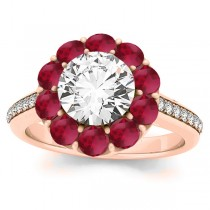 Diamond & Ruby Floral Round Halo Engagement Ring Setting 14k Rose Gold (1.00ct)