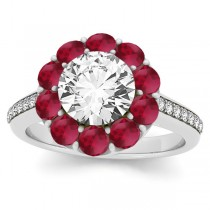Diamond & Ruby Floral Round Halo Engagement Ring Setting 14k White Gold (1.00ct)