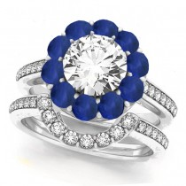 Floral Design Round Halo Blue Sapphire Bridal Set Platinum (2.73ct)