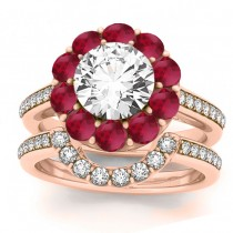Diamond & Ruby Floral Halo Bridal Set Setting 14k Rose Gold (1.23ct)