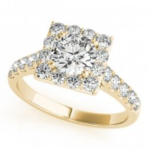 Diamond Halo Square Border Engagement Ring 18k Yellow Gold (3.05ct)
