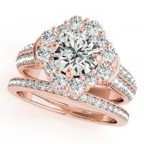 Round Cut Flower Halo Diamond Bridal Set in 14k Rose Gold (2.83ct)