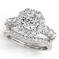 Diamond Frame Flower Ring & Band Bridal Set in 14k White Gold (2.30ct)