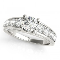 Trellis Diamond Engagement Ring w/ Side Accents 18k W. Gold (2.83ct)