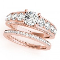 Trellis Diamond Engagement Ring Bridal Set 14k Rose Gold (3.00ct)