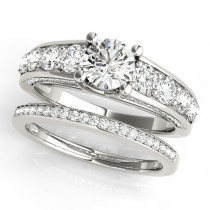Trellis Diamond Engagement Ring Bridal Set 14k White Gold (3.00ct)