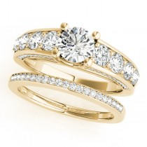 Trellis Diamond Engagement Ring Bridal Set 14k Yellow Gold (3.00ct)