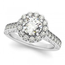 Diamond Halo Flower Engagement Ring in 14k White Gold (1.00ct)