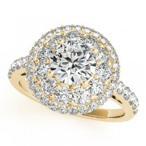 Double Halo Round Cut Diamond Engagement Ring 14k Yellow Gold (2.00ct)