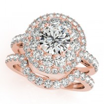 Double Halo Diamond Engagement Ring Bridal Set 14k Rose Gold (2.33ct)