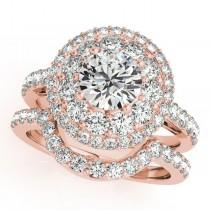 Double Halo Diamond Engagement Ring Bridal Set 18k Rose Gold (2.33ct)