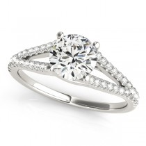 Lucidia Split Shank Multirow Engagement Ring 14k White Gold (1.18ct)