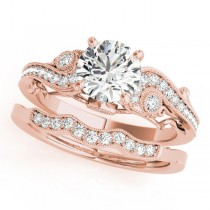 Vintage Swirl Diamond Engagement Ring Bridal Set 14k Rose Gold 2.25ct