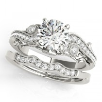 Vintage Swirl Diamond Engagement Ring Bridal Set Platinum (2.25ct)