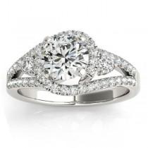 Split Shank Halo Diamond Engagement Ring Setting 14k White Gold 0.75ct