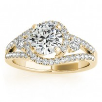 Diamond Split Shank Engagement Ring Twisted 18k Yellow Gold (0.75ct)