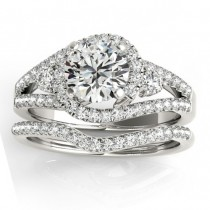 Diamond Split Shank Engagement Ring Setting & Band in Platinum 1.00ct